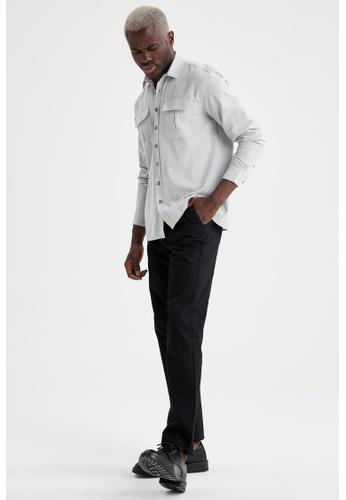 DeFacto grey Man Woven Long Sleeve Shirt 07181AA62503B8GS_1