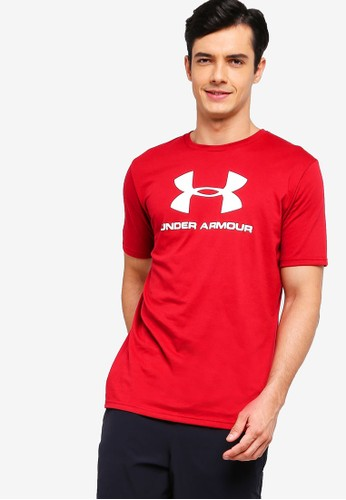 Under Armour red Sportstyle Logo Short Sleeve Tee 63071AA7A14731GS_1