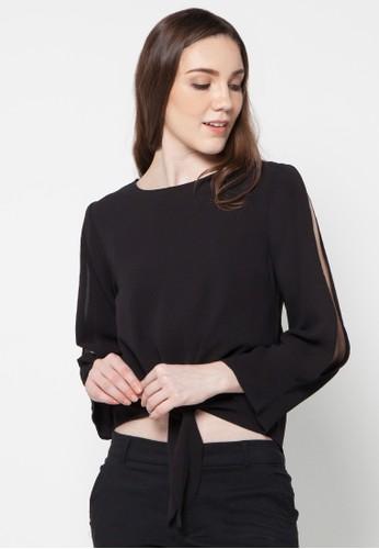 Raspberry black Adriana Long Sleeve Blouse RA572AA32EXBID_1