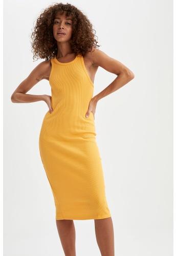 DeFacto 黃色 Sleeveless Mini Dress E9276AAE2CB9E2GS_1