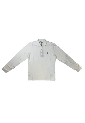 Gucci white PRE-LOVED GUCCI COTTON LONG SLEEVE POLO WITH ANCHOR CREST F9AA3AADC75442GS_1