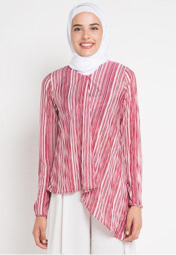 AZZAR red and multi Itzel Assymetrical Blouse C8BEDAA152CE43GS_1
