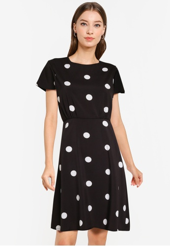 ZALORA WORK multi Fluted Sleeves Fit And Flare Dress A294AAA01AA8C0GS_1
