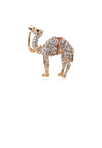 Glamorousky white Fashion Bright Plated Gold Camel Brooch with Cubic Zirconia 1159BAC1EEBC27GS_1