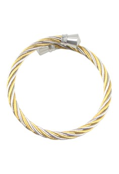 Mixed Cable Wire Silver Pointed Knobbed End Cuff Bracelet 2000155