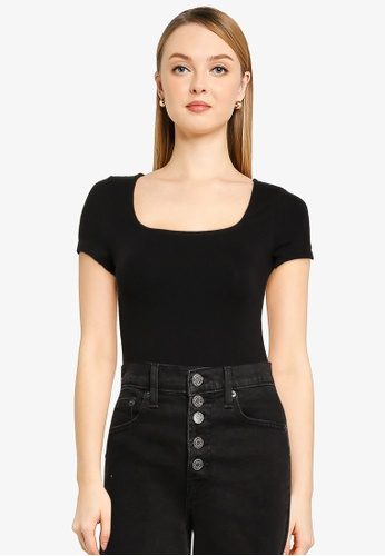 GAP black Squareneck Bodysuit 21223AAD69A72CGS_1