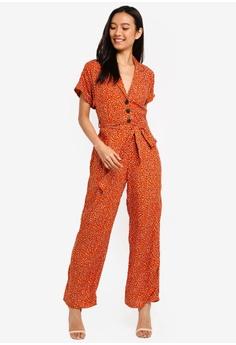 d16e5fbaa5 Miss Selfridge brown Petite Rust Animal Print Utility Jumpsuit  931A8AA529EDE1GS 1