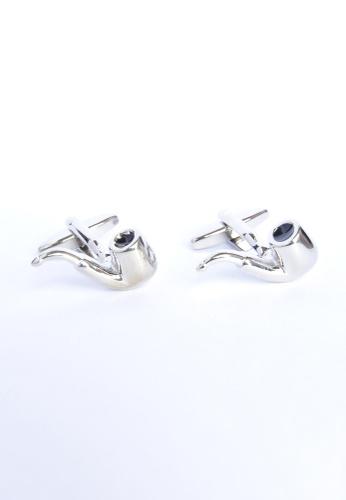 Splice Cufflinks silver Chrome Finished Bent Style Smoking Pipe Cufflinks SP744AC23PRCSG_1