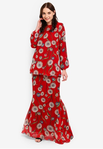 Midi Kurung Mermaid Chiffon Full Lining from Zuco Fashion in Red