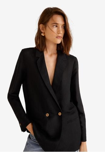 Mango black Linen Blazer Suit 9B4FFAAF6101CDGS_1