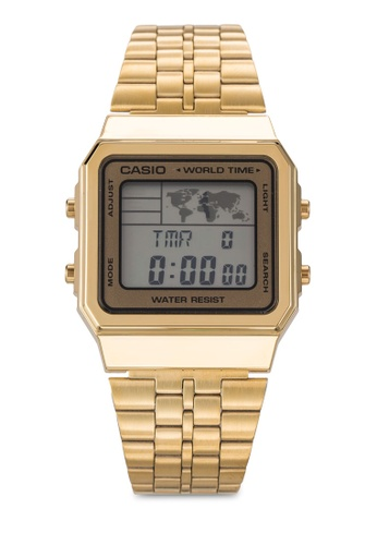 Casio gold Men's Gold-Tone Casio World Time Stainless Steel Watch CA843AC82IXTMY_1