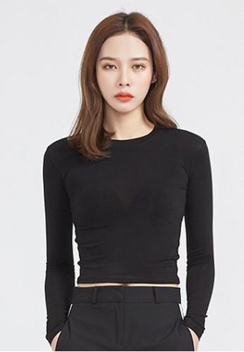 修身短款上衣T恤, 服飾esprit台灣outlet, 上衣