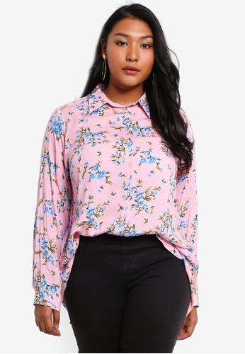 Ex'otico pink Plus Size Long Sleeve Shirt 7B04CAAC362FB8GS_1