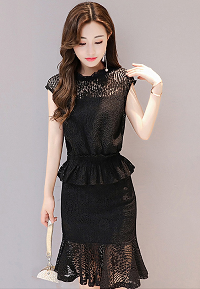 Sleeves Lace Mini Dress One Black Black Short Sunnydaysweety 2017 A072430BK Piece tRBqxP5n