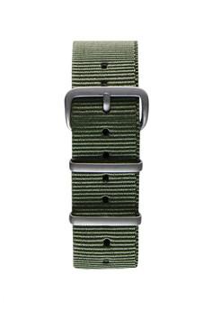 NATO霧面銀軍綠色錶帶