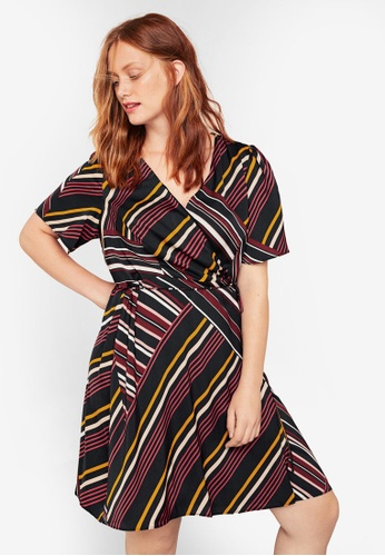 9884031fb49 Shop Violeta by MANGO Plus Size Striped Wrap Dress Online on ZALORA  Philippines
