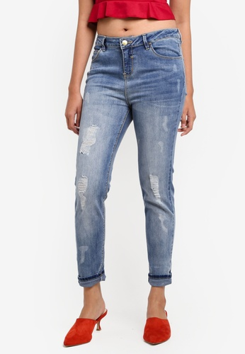 Penshoppe blue Mid Waist Jeans With Distressed Effect A5533AAE51C8D3GS_1