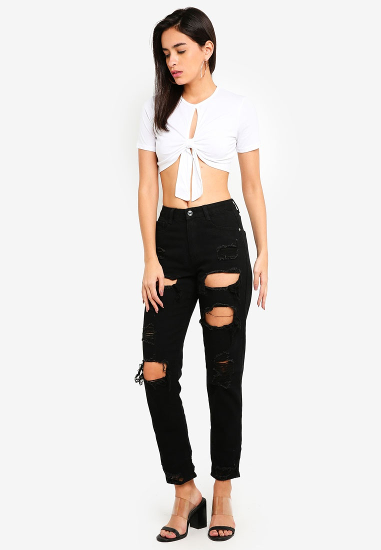 Top Key Front Crop MISSGUIDED Tie Hole White RETBxXqn