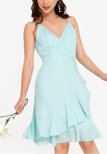 ZALORA OCCASION 藍色 伴娘Wrap Cami短洋裝 64E6AAAE24CBFBGS_1