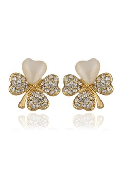 Treasure by B&D E914 Plated Clover Stud Earrings With Cat Eye Stones & Czech Drill Inlay