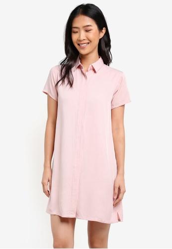 Penshoppe pink Short Sleeve Shirt Dress 56F90AAA61607DGS_1