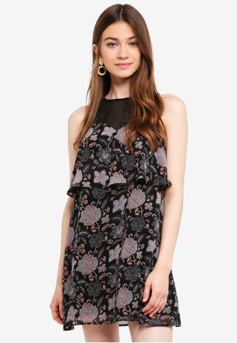 Something Borrowed black Layered Cut In Swing Dress A8CA6AAB6D481EGS_1