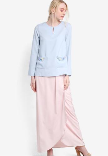 Lubna pink and blue Beaded Pocket Kurung LU723AA11ZYUMY_1