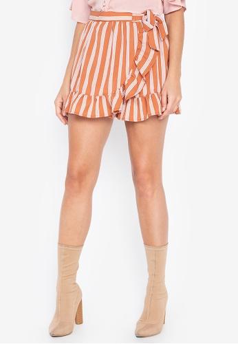 ba7b446ee5e2b6 Penshoppe orange Striped Wrap Skirt With Ruffles 390A4AACD4F5A7GS_1