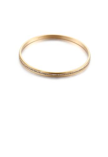 Glamorousky 白色 簡約優雅鍍金色幾何圓形鋯石316L鋼手鐲 3BD45AC376B579GS_1
