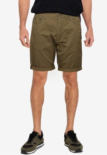 !Solid green 5 Pocket Shorts 70260AAA7BAC74GS_1
