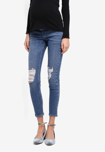 TOPSHOP 藍色 Maternity Rip Jamie Jeans TO412AA0SRSKMY_1