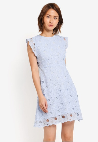 ZALORA blue Fit & Flare Dress with Side Detail B6B54AAE04B232GS_1