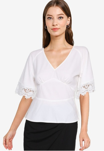 ZALORA WORK 白色 蕾絲袖上衣 A1B60AA062453AGS_1