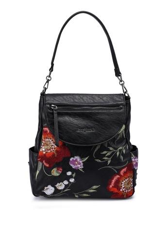Desigual black Embroidere Convertible Handbag 889CEAC7511B64GS_1