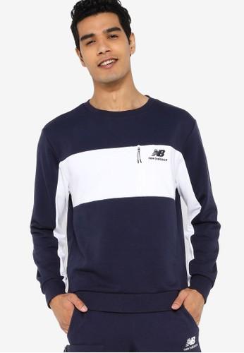 New Balance navy Athletics Fleece Crew Sweatshirt 498ECAA5F1D465GS_1