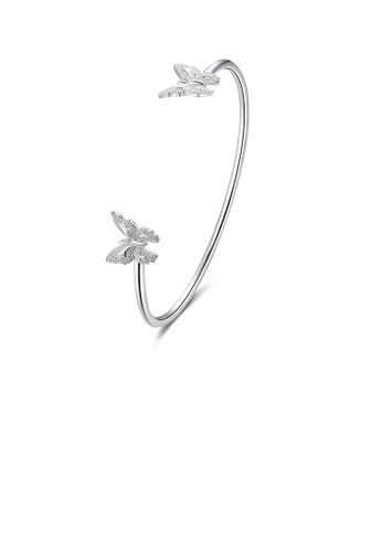 Glamorousky silver Elegant Double Butterfly Open Bangle 21B08AC925CC23GS_1
