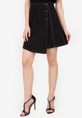ZALORA WORK black Contrast Stitching Side Button Skirt 9B346AA3A889C6GS_1