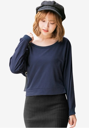 Tokichoi navy Basic Long Sleeve Top with Ribbon Detail 8FE57AA1CDB304GS_1