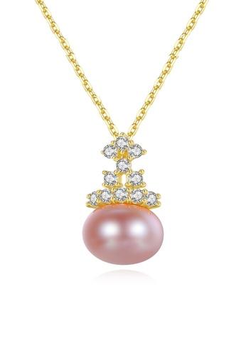 A.Excellence purple Premium Purple Pearl Elegant Necklace 6B834ACB6E14A1GS_1