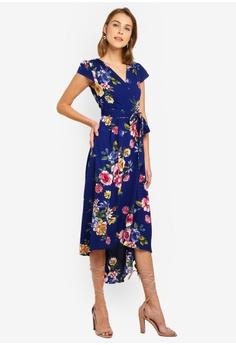 c872b987e06 Mela London navy Front Wrap Floral Dress 07B59AA0B0D065GS 1