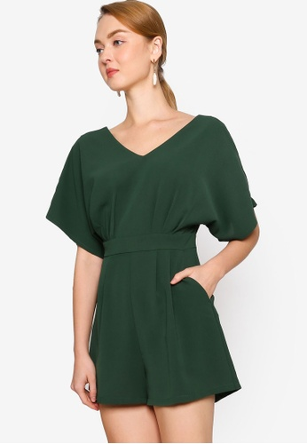 ZALORA WORK green Wide Sleeves Playsuit 20898AAB89758FGS_1