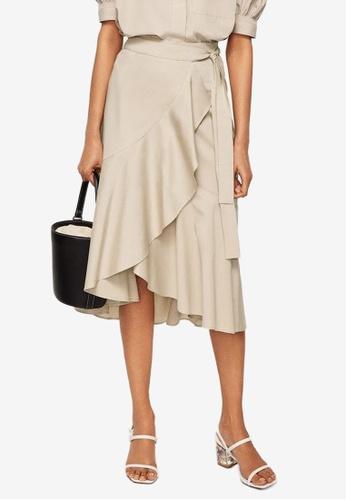 Mango brown Ruffled Wrap Skirt F36D1AA64E8688GS_1