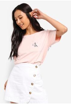 65110d6bd3f1e Calvin Klein pink A-Crop Mono Off Plac Tee - Calvin Klein Jeans  283CDAA338C5CEGS 1