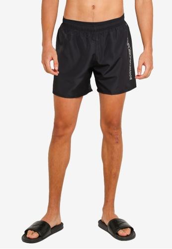EA7 black Sea World Bw Silver Logo Swim Shorts 1A37EUS80750D5GS_1