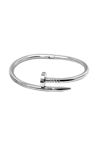 Elfi silver Elfi Stainless Steel Nail Cuff Clasp Silver Bracelet MB14 72990ACA5028C5GS_1