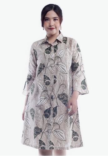 EAJA green and beige Shashi Dress Batik Wanita Modern 1117CAA496A0DDGS_1