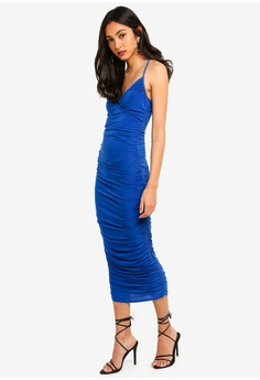 8b3f5160b01 30% OFF MISSGUIDED Slinky Wrap Ruched Maxi Dress RM 119.00 NOW RM 82.90  Sizes 6 8 10 12 14