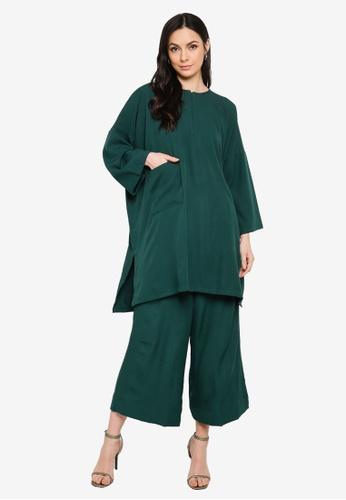 Butik Sireh Pinang green Mawar Blouse Loose Pocket Suit 07432AA3F2FDC5GS_1