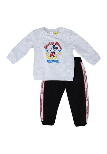 LC Waikiki grey Baby Boy's Mickey Mouse Printed T-Shirt and Trousers 1D773KACE5CB38GS_1