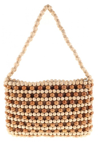 Style Cat brown and beige Style Cat Atlas Wooden Beaded Bag 2C374AC0413762GS_1